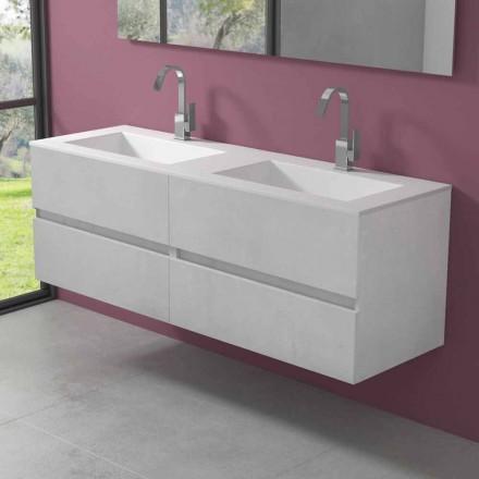 Mobile Bagno Sospeso con Doppio Lavabo, Design Moderno in 4 Finiture - Doppietto