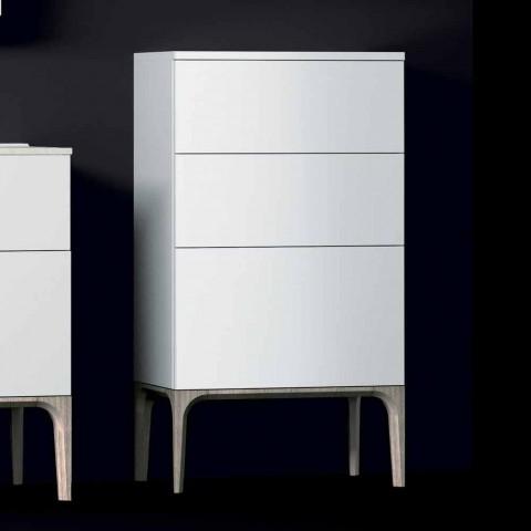 Mobile bagno moderno 3 cassetti in legno laccato Ambra, made in Italy