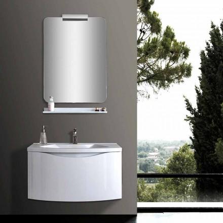 Mobile Bagno Moderno Sospeso Bianco con Lavello, Mensola, Specchio LED - Michele