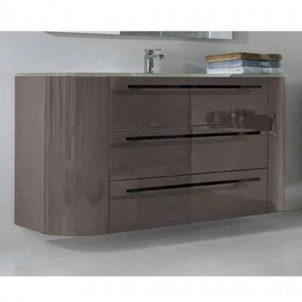 Mobile bagno sospeso 3 cassetti+2 ante in legno Happy,lavabo integrato