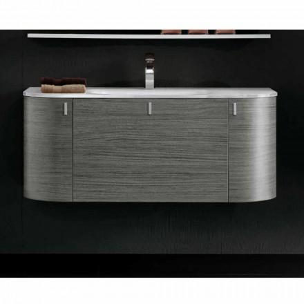 Mobile bagno sospeso con lavabo 1cestone + 2ante in legno rovere Happy