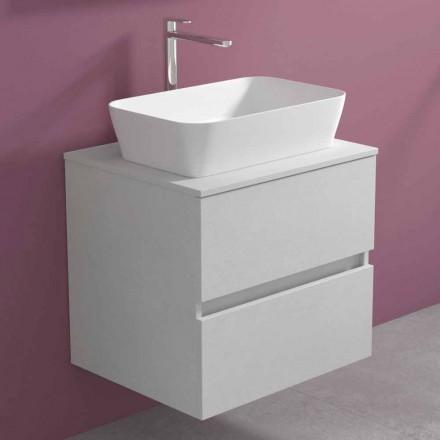 Mobile Bagno Sospeso con Lavabo da Appoggio Rettangolare, Design Moderno - Dumbo