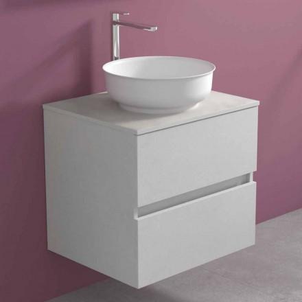 Mobile Bagno Sospeso con Lavabo da Appoggio Rotondo, Design Moderno - Dumbo