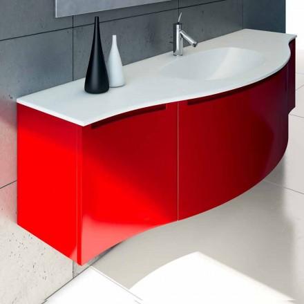 Mobile bagno sospeso con lavabo integrato, 1cestone + 2ante Gioia
