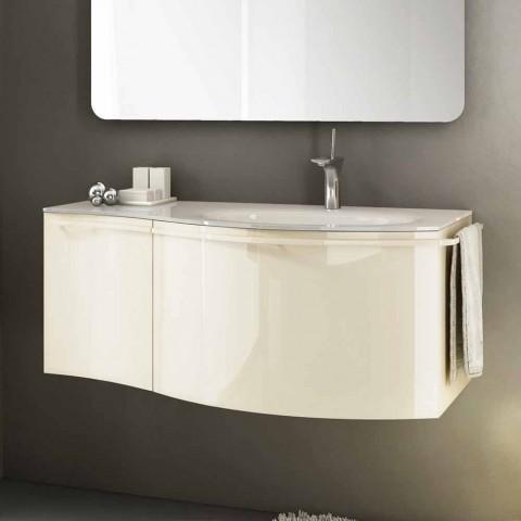 Mobile bagno sospeso moderno con lavabo in legno laccato for Cassettone bagno