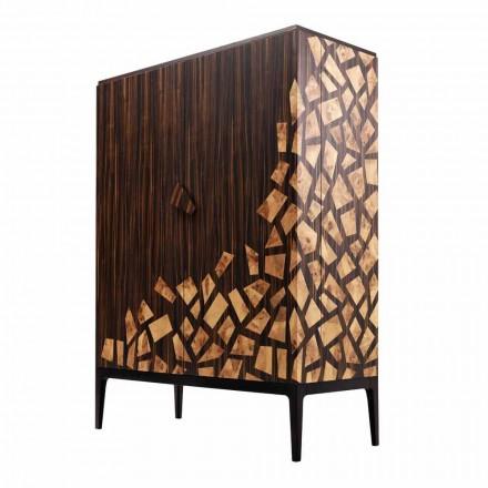 Mobile bar 2 ante design Grilli Zarafa fatto in Italia in legno ebano