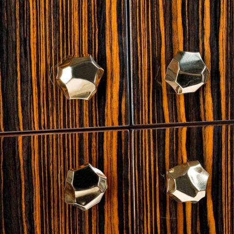 Mobile contenitore moderno con 4 ante in legno di ebano lucido Ada