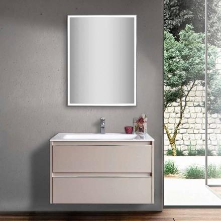 Mobile Lavabo Bagno Tortora in Legno e Mineralmarmo con Specchio LED - Alfonso