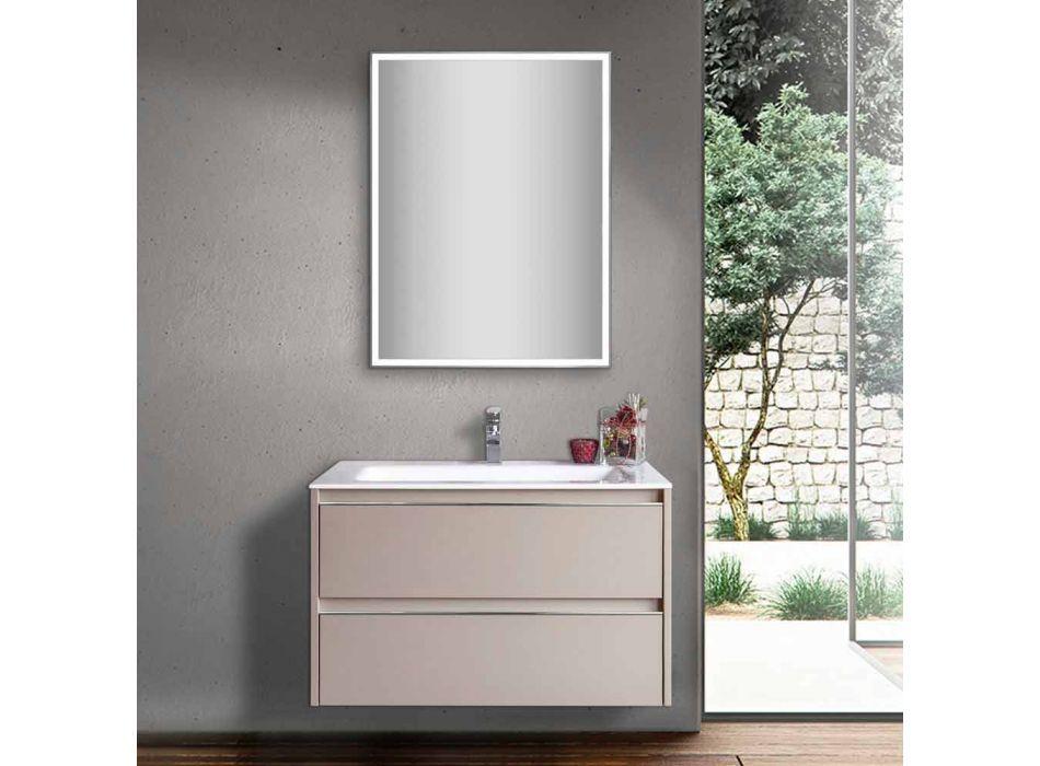 Mobile Lavabo Bagno Tortora in Legno e Resina con Specchio di Design - Alfonso