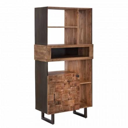 Mobile Libreria di Design in Ferro e Legno di Acacia - Desdemona