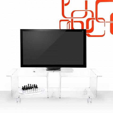 Mobile porta tv design moderno in plexiglass trasparente Mago Double