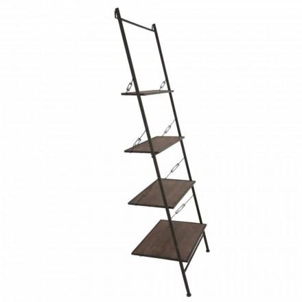 Mobiletto a Scaletta Design Moderno Stile Industrial in Legno e Metallo - Denes