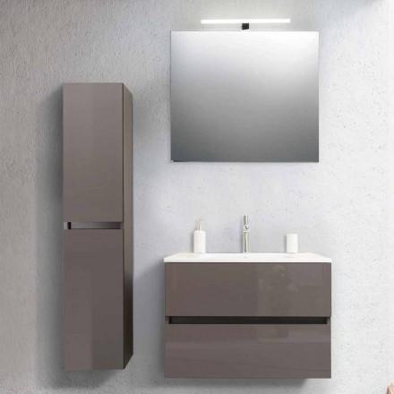 Mobile Bagno 80 cm, Lavabo, Specchio e Colonna Ecrù – Becky