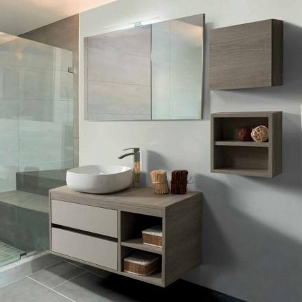 Mobile Bagno 100 cm, Specchio, Lavabo e Mensola – Becky