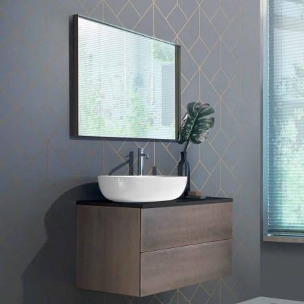 Mobili Bagno a Sospensione Base 2 Cassetti, Lavabo e Specchio, Pregiato - Renga