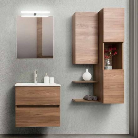 Mobile Bagno 60 cm, Specchio, Lavabo e Colonna – Becky