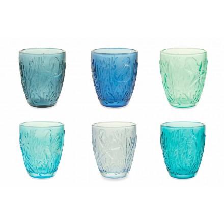 Moderni Bicchieri Colorati Blu in Vetro 12 Pezzi Servizio per Acqua - Mazara