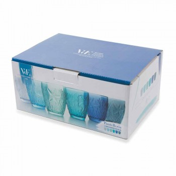Moderni Bicchieri Colorati Blu in Vetro 6 Pezzi Servizio per Acqua - Mazara
