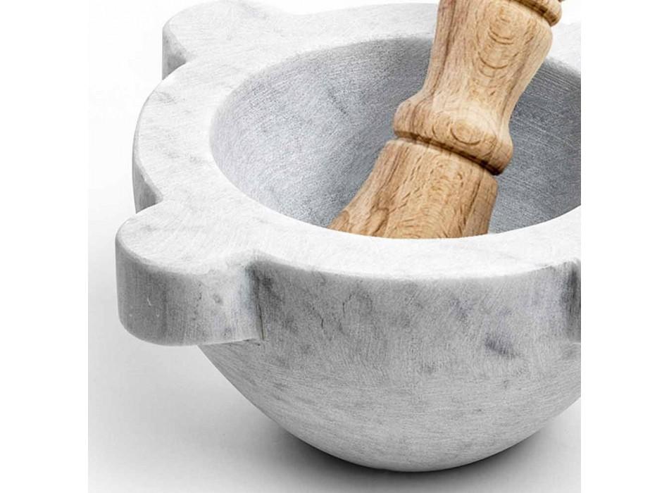 Mortaio in Marmo Bianco di Carrara con Pestello in Legno Made in Italy - Winda