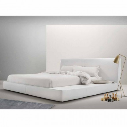 Letto matrimoniale in pelle imbottito My Home Long Island made Italy