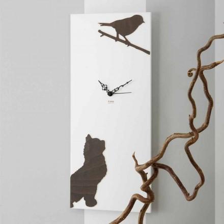 Orologio a Muro Bianco con Decori di Animali in Legno Design Moderno - Suspense