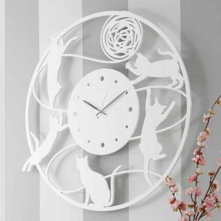 Orologio a Muro dal Design Grande Moderno Rotondo Colorato Decorato - Gatto