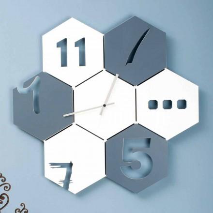 Orologio a Muro Grande in Legno Colorato Design Moderno Esagonale - Nidodape