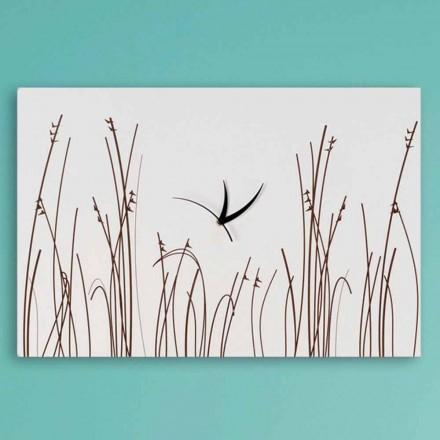 Orologio a Muro in Legno Bianco di Design Moderno Rettangolare - Filigrano