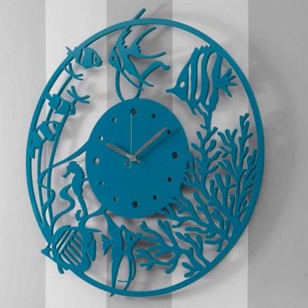 Orologio a Muro in Legno Design Grande Moderno Colorato Tondo - Infondoalmar