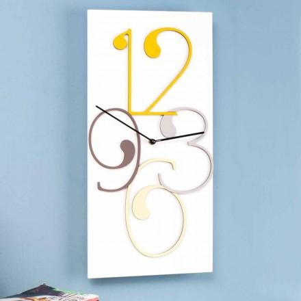 Orologio a Muro Legno Colorato e Bianco Design Rettangolare Moderno - Matematica