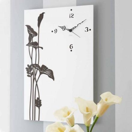 Orologio a Muro Moderno Rettangolare in Legno Bianco Decorato di Design - Croco