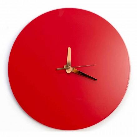 Orologio da Muro Rosso dal Design Italiano Rotondo e Moderno in Legno - Callisto
