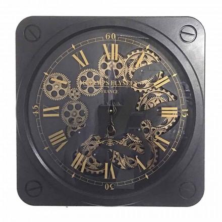 Orologio a Parete Design Vintage in Acciaio Forma Quadrata Homemotion - Curzio