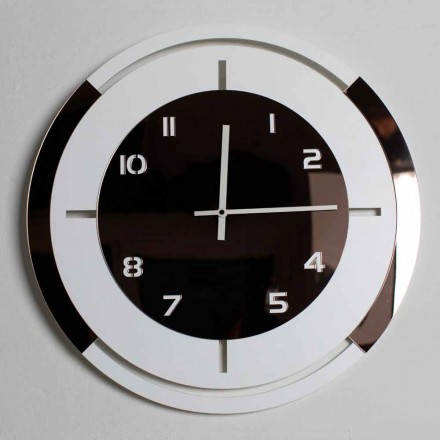 Orologio a Parete in Legno Bianco e Decori Bronzo di Design Moderno - Mavia