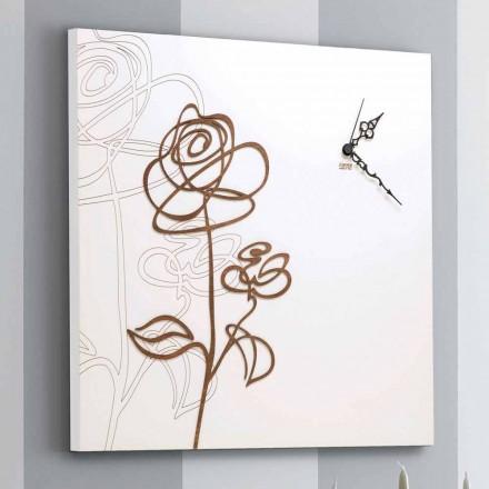 Orologio a Parete in Legno Bianco Quadrato con Decoro a Rosa Moderno - Bucaneve