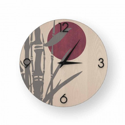 Orologio a parete in legno decorato Atina, design made in Italy