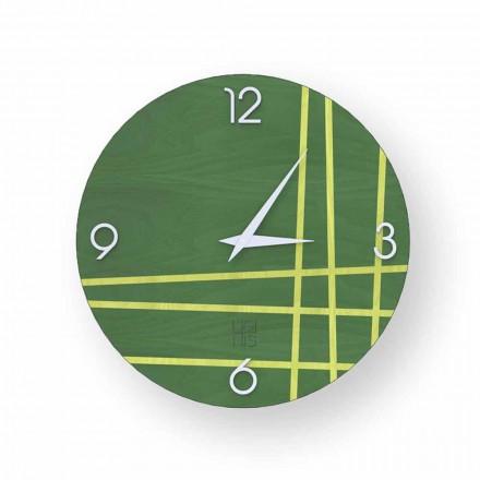 Orologio da parete in legno  Gorle, design moderno, fatto in Italia