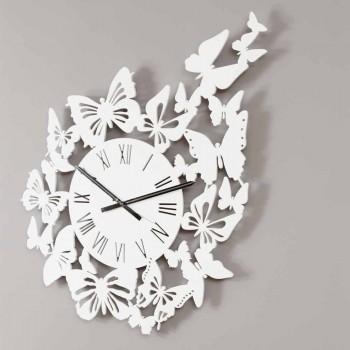 Orologio a Parete Legno Colorato Design Moderno Decorato con Farfalle - Papilio