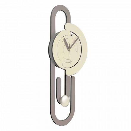 Orologio a Pendolo da Parete Design Moderno in Legno Beige e Marrone - Graffetta