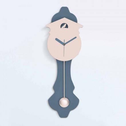Orologio a Pendolo Moderno in Legno da Parete di Design Grigio e Rosa - Cuculo