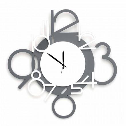Orologio da Muro Grande e Moderno di Design in Legno Bianco e Grigio - Cifro