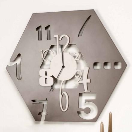Orologio da Muro Grande in Legno di Design Esagonale Moderno Colorato - Poliedro