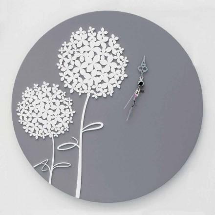 Orologio da Muro in Legno Grigio di Design Moderno Rotondo Decorato - Soffione
