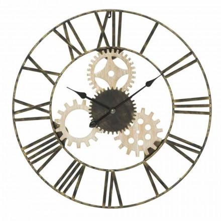 Orologio da Muro Rotondo Diametro 70 cm Design Moderno in Ferro e MDF - Jutta