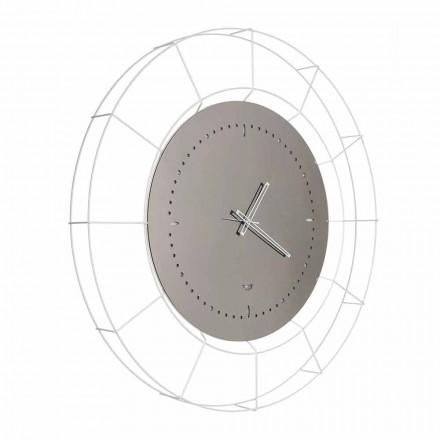 Orologio da Parete a Specchio Moderno in Acciaio Bianco Made in Italy - Adalgiso