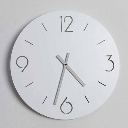 Orologio da Parete Bianco di Design Classico in Legno Rotondo - Settimio