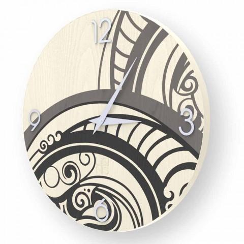 Orologio da parete design astratto  Adro in legno, made in Italy