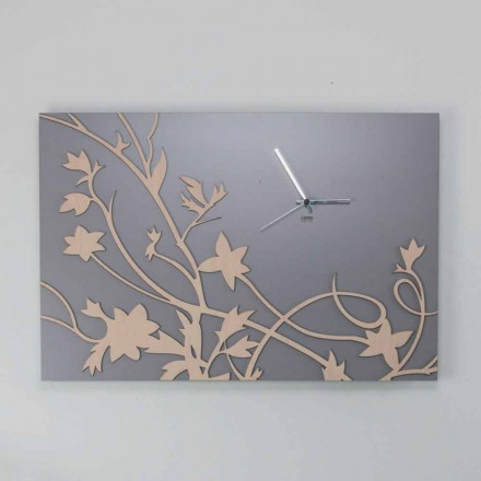 Orologio da Parete Design Rettangolare Moderno Grigio in Legno Decorato - Gallio