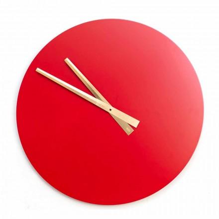 Orologio da Parete Grande Colorato Design Moderno in Legno Rotondo - Dione