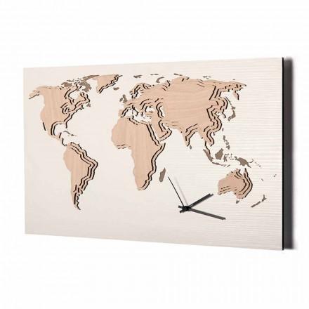 Orologio da Parete in Legno con Decorazione Planisfero Made in Italy - Mappo
